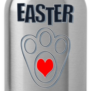 Easter Bunny Footprints, Easter Heart Bunny - Water Bottle