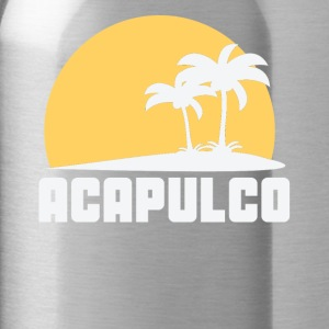 Acapulco Mexico Sunset Palm Trees Beach - Water Bottle