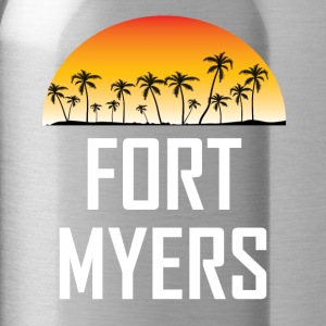 Fort Myers Florida Sunset Palm Trees Beach - Water Bottle