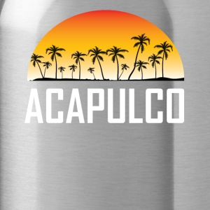 Acapulco Mexico Sunset And Palm Trees Beach - Water Bottle