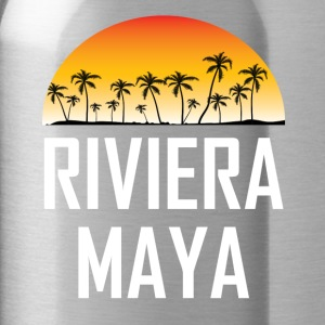 Riviera Maya Mexico Sunset Palm Trees Beach - Water Bottle