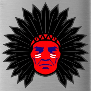 indian_chief_head_black - Water Bottle