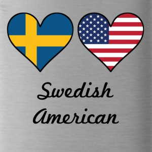 Swedish American Flag Hearts - Water Bottle