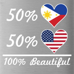 50% Filipino 50% American 100% Beautiful - Water Bottle