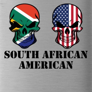 South African American Flag Skulls - Water Bottle