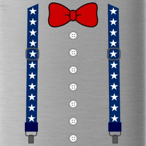 Funny Suspenders American Flag Bowtie Costume - Water Bottle