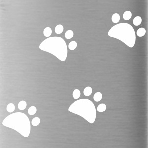 CAT_FOOTPRINTS_WHITE - Water Bottle
