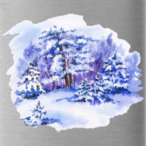 winter-landscape-drawing-painting-watercolor - Water Bottle
