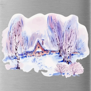 winter-watercolor-landscape-painting-birch trees - Water Bottle