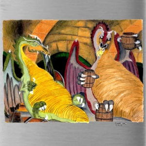 dragons drinking hand drawn - Water Bottle