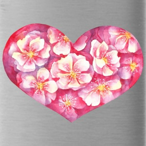 Flowers heart vector watecolor picture - Water Bottle