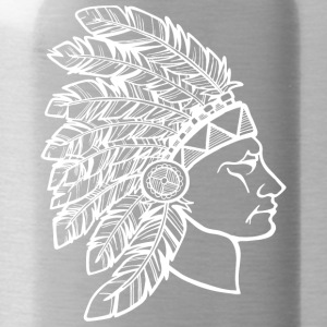 red_plumage_american_indian_white - Water Bottle
