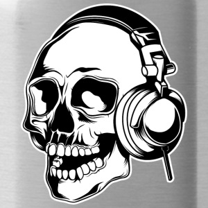 skull_in_headphones - Water Bottle