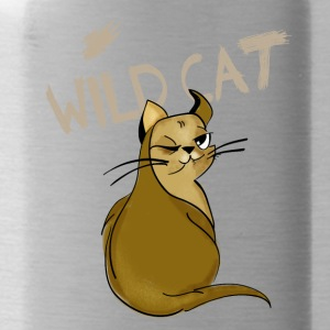 cat wild kitty cute humor funny comic grumpy girl - Water Bottle