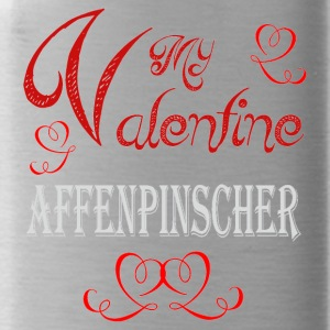 A romantic A romantic Valentine with my Affenpinsc - Water Bottle