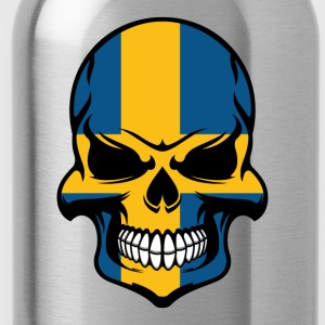 Swedish Flag Skull Cool Sweden Skull - Water Bottle