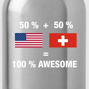Half Swiss Half American 100% Switzerland Flag - Water Bottle