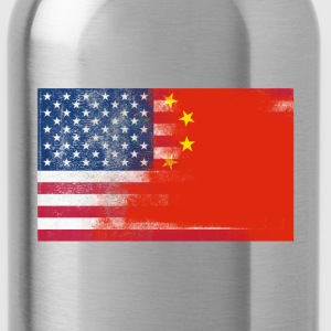 Chinese American Half China Half America Flag Shir - Water Bottle