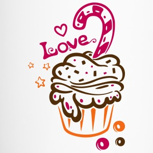 Cupcake, Muffin with heart, stars and sweets - Travel Mug