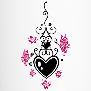 Hearts with tribal, flowers and butterflies - Travel Mug