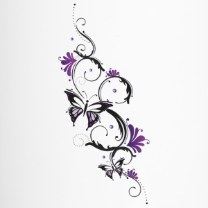 Floral ornament with butterfly and flowers. - Travel Mug