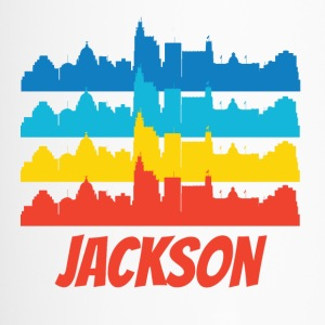 Retro Jackson MS Skyline Pop Art - Travel Mug