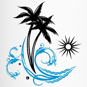 Palm trees with wave and sun, vacation, surf. - Travel Mug