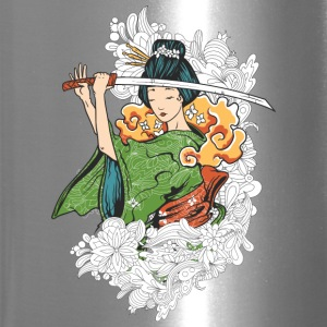 Japanese woman with Samurai sword - Travel Mug