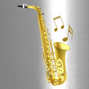 Saxophone with music notes - Travel Mug