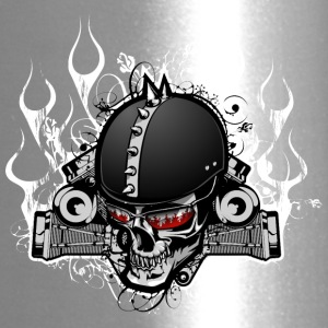 Biker_skull_with_flame - Travel Mug