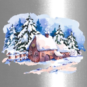 watercolor-landscape-winter-painting-house-trees - Travel Mug