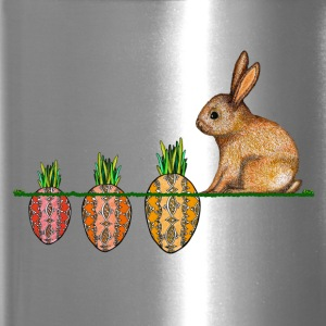 Happy Easter eggs Easter bunny waiting for carrots - Travel Mug
