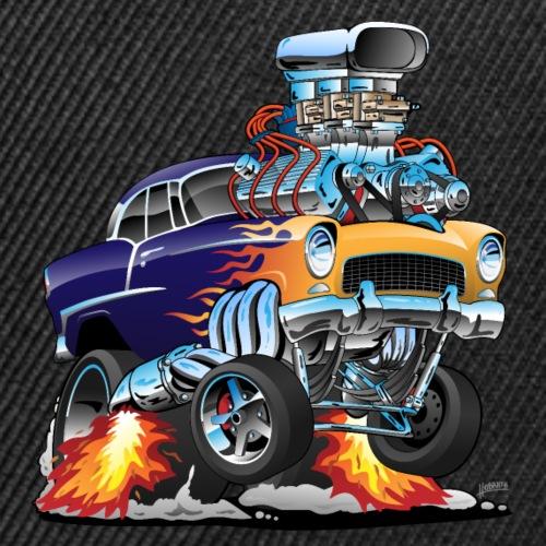 Classic Fifties Hot Rod Muscle Car Cartoon - Snap-back Baseball Cap