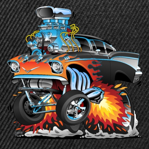 Classic hot rod 57 gasser dragster car cartoon - Snap-back Baseball Cap
