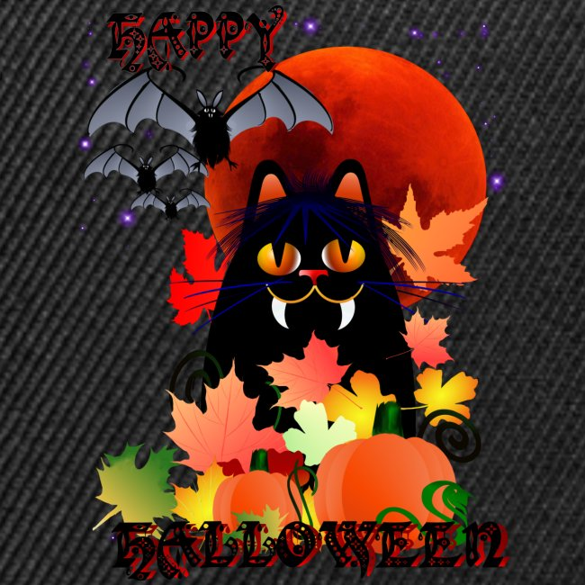Black Halloween Kitty And Bats~