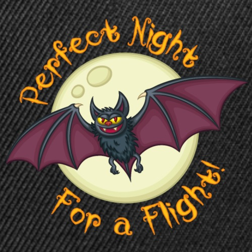 Flying Vampire Bat With Moon And Halloween Quote - Snap-back Baseball Cap