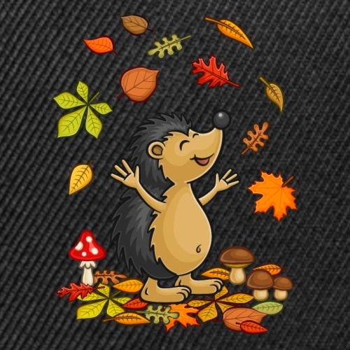 Welcome Fall - Cute Hedgehog Throws Colored Leaves - Snap-back Baseball Cap
