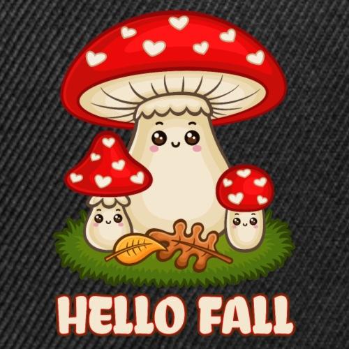 Hello Fall - Cute Toadstool Fly Agaric Mushrooms - Snap-back Baseball Cap