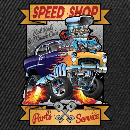 Speed Shop Hot Rod Muscle Car Cartoon Illustration - Snap-back Baseball Cap