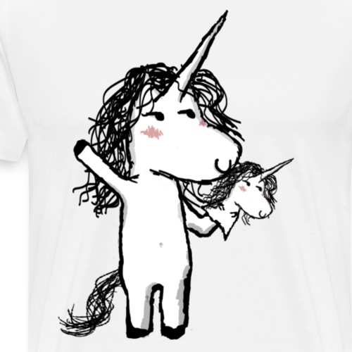 Kaede the Unicorn with his mini friend - Men's Premium T-Shirt