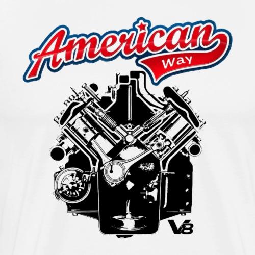 AMERICAN WAY V8 motor engine dark design - Men's Premium T-Shirt