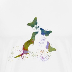 Ferret and butterflies - Men's Premium T-Shirt