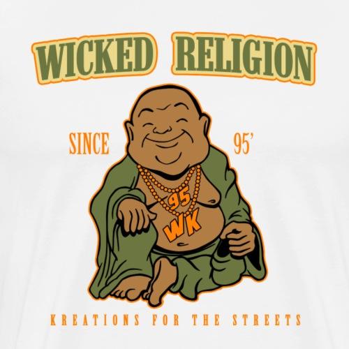 Wicked Religion Buddah Logo Green Orange - Men's Premium T-Shirt