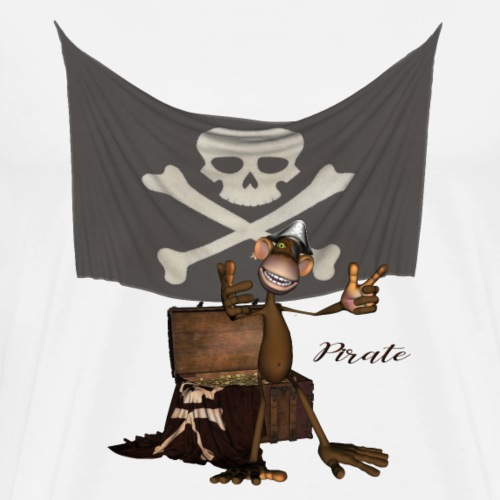 Funny pirate onkey with flag - Men's Premium T-Shirt