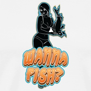 sexy_girl_offering_fish_black - Men's Premium T-Shirt