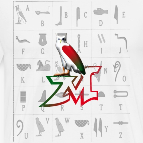The letter M and Hieroglyphic symbol for it - Men's Premium T-Shirt