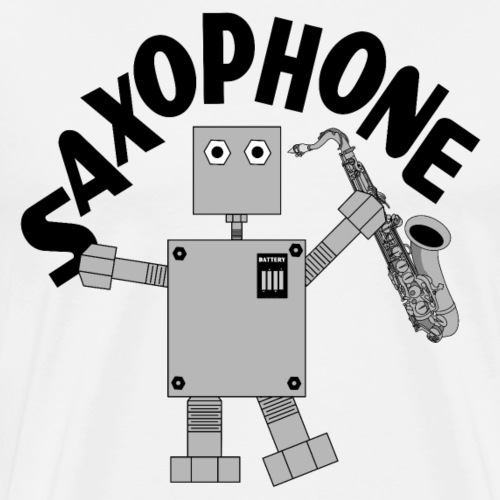Saxophone Robot Text - Men's Premium T-Shirt