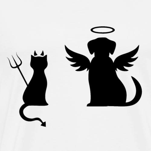 Devilish Cat And Angelic Dog - Men's Premium T-Shirt