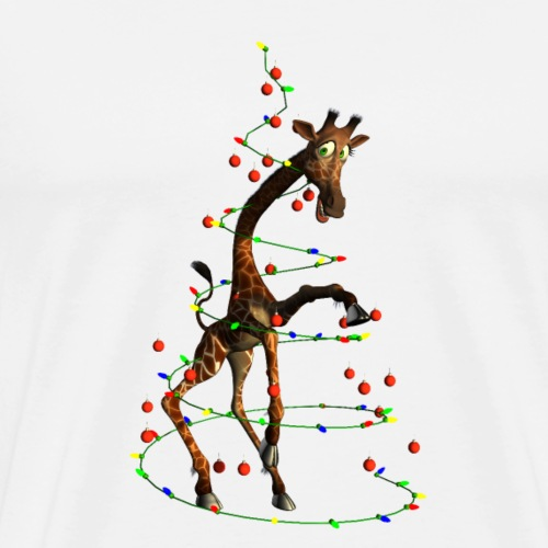 Funny giraffe with christmas tree - Men's Premium T-Shirt