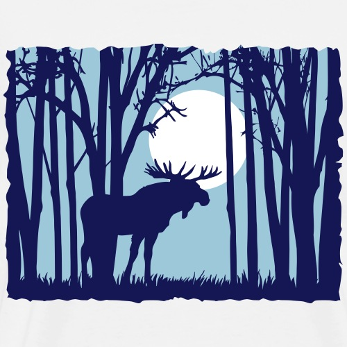 Moon with moose in the forest sunset moon sunrise - Men's Premium T-Shirt